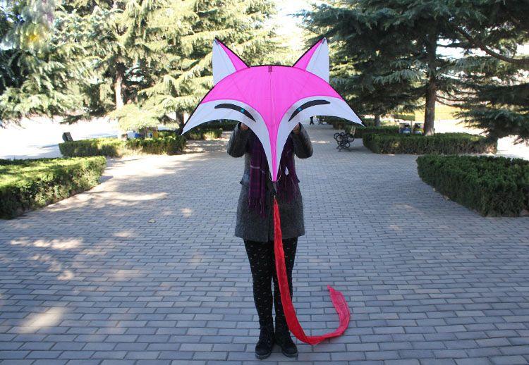 야외 재미 스포츠 유방 연 Fox 여우 고품질의 우산 탄소 막대 동물 연 새 도착 비행