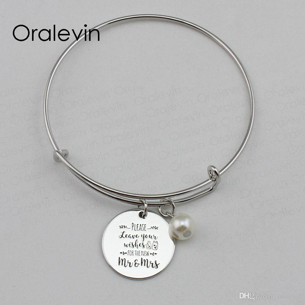 Пожалуйста, оставьте свои пожелания для нового г-н г-жа вдохновляющие ручной гравировкой кулон расширяемый браслет ювелирных изделий, 10 шт. / лот, #LN2197B