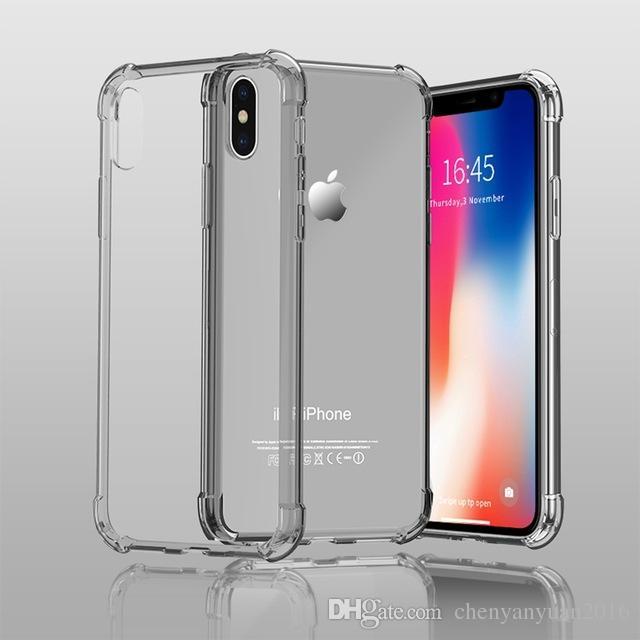 Cas pour iPhone XS Max XR Knockproof Cas de téléphone pour iPhone X 7 8 Plus 5 5S SE 6 6S Transparent Dos