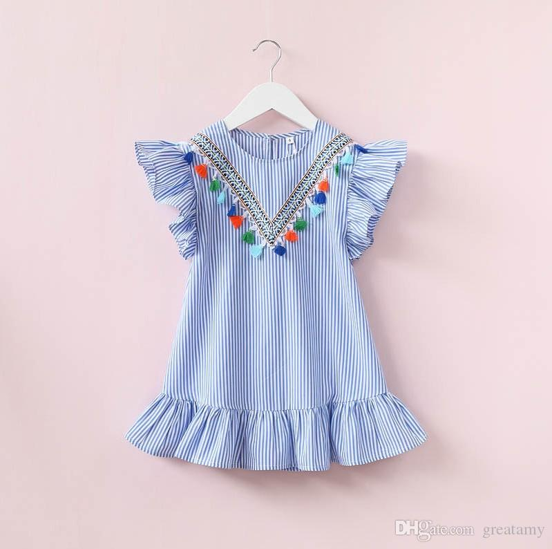14032a8b8a3fb 2019 Fashion New Design Baby Girls Princess Dress Kids Girl Princess Dress  Summer Striped Short Sleeve Mini Dress With Tassels Pendant From Greatamy,  ...