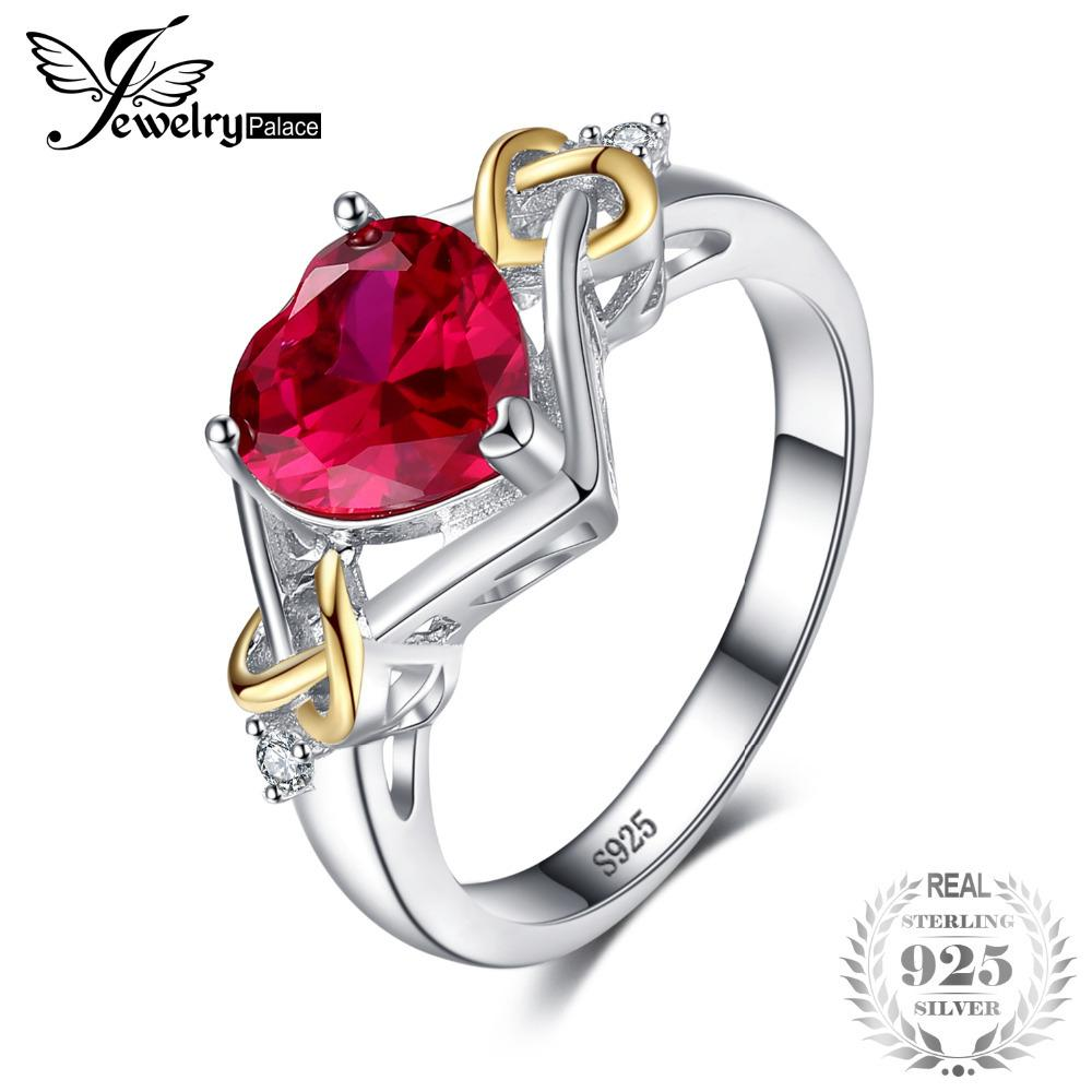 JewelryPalace Love Knot Heart 2.5ct Created Red Ruby Anniversary Promise Ring 925 Sterling Silver 18K Yellow Gold Women Fashion Y1892606