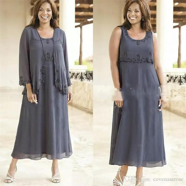 Серый шифон плюс размер мать невесты платья кружева аппликации мать жениха платья с пиджаком чай длина вечерние платья