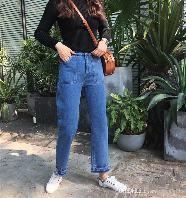 2018 début du printemps nouvelle coréenne taille haute lâche femmes jeans pantalons jambes larges