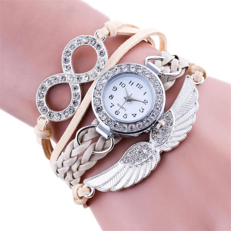 2018 Kadınlar Bilezik Saatler Dokuma Moda Rahat Bilezik Yuvarlak Kuvars Saatı Bayanlar Saatler Saat Kadın Montre Femme