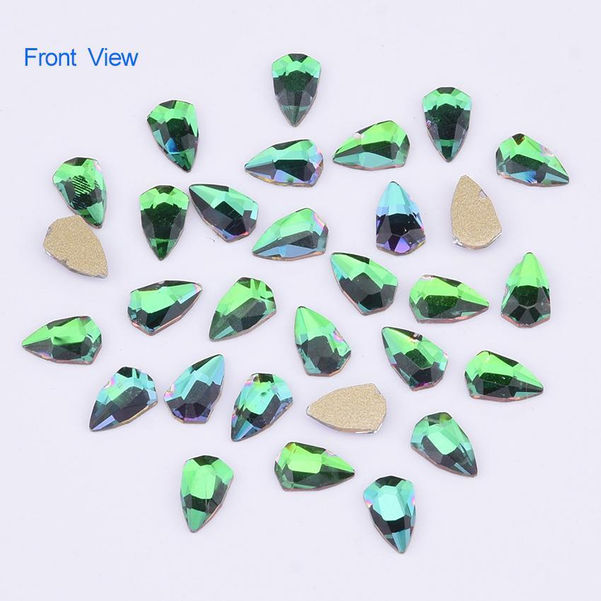 Compre 100 Unids Crystal Espalda Plana Nail Rhinestones Shield ...