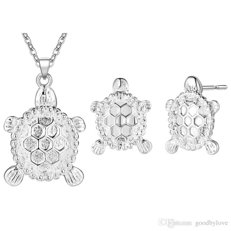 Silber Überzogene Nette Schildkröte Schildkröte Tier Ohrstecker Kette Anhänger Halskette Mode Frauen Schmuck Sets für Party Hochzeit