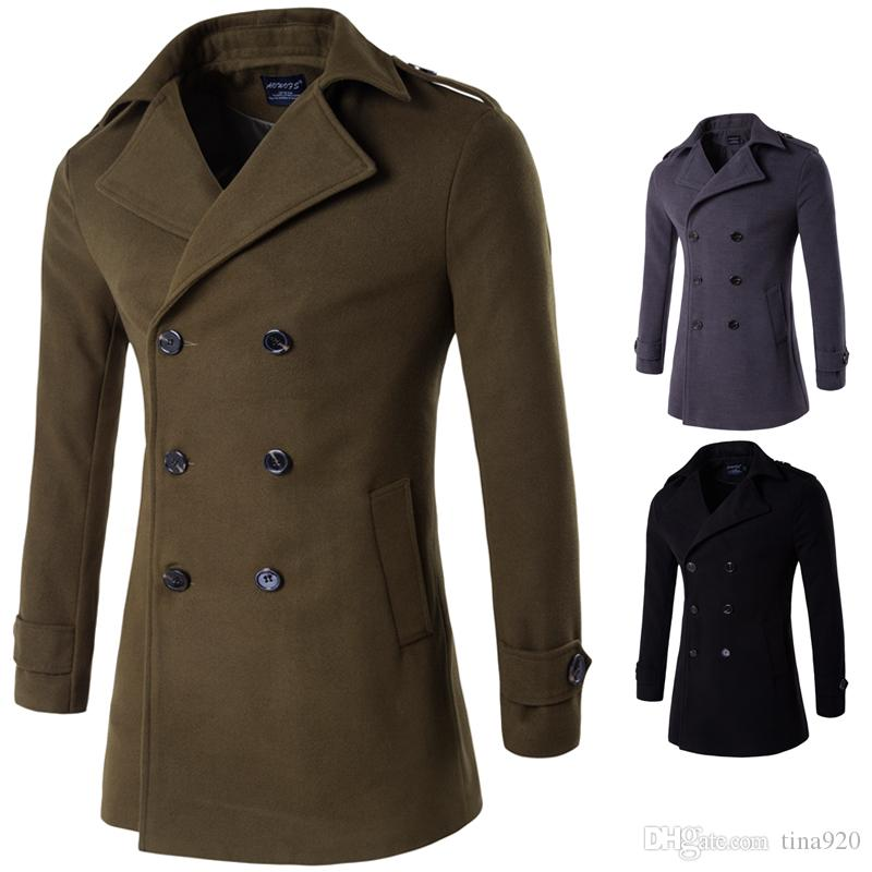 2 colors new high-quality men's clothing coat double-breasted badge coat Men's Wool & Blends coat