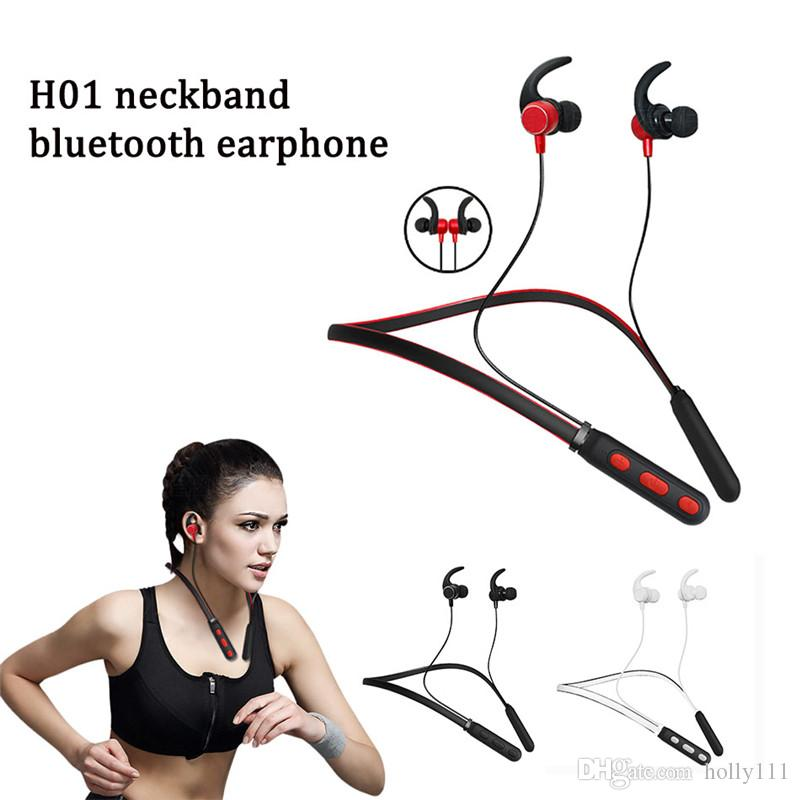 H01 neckband earphone Bluetooth V4.2+EDR Wireless Headset Sport Running Stereo Magnet Earphone Headphone For iPhone XiaoMi DHL free shipping