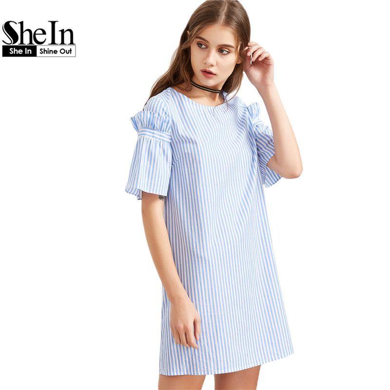 Compre Shein Womens Vestidos De Verão 2017 Senhoras Azul Listrado Ruffle Manga Túnica Vestido De Manga Curta Shift Casual Vestido De Art10 2893