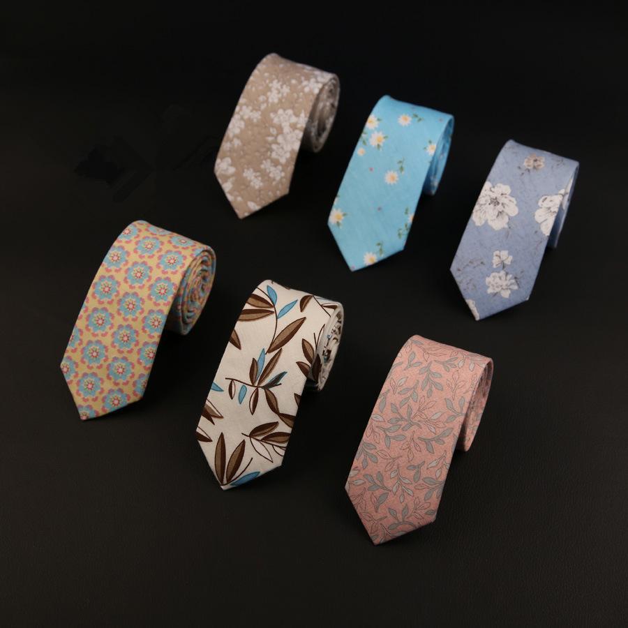 6CM Cravatte Floreali Per Uomo Skinny Mens Cravatte Gravatas Slim Corbatas Vestidos Matrimonio Cotone Sposo Cravatta Cravatta