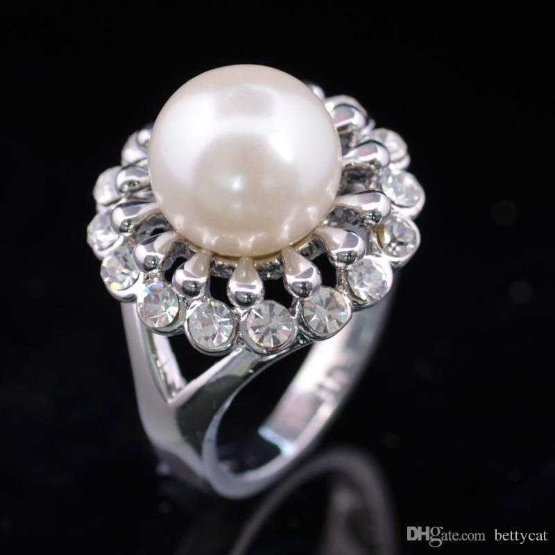 New arrival women fashion jewelry royal diamond alloy all matching pearl ring Love Valentine's day Christmas festival gift