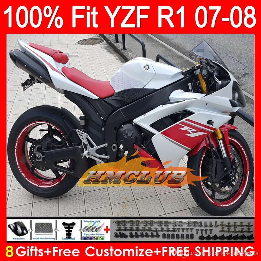 Iniezione Carena + Faro principale per YAMAHA YZF1000 YZFR1 07 08 Rosso bianco YZF 1000 37HM0 YZF-R1 07-08 YZF-1000 YZF R 1 YZF R1 2007 2008 Kit rosso
