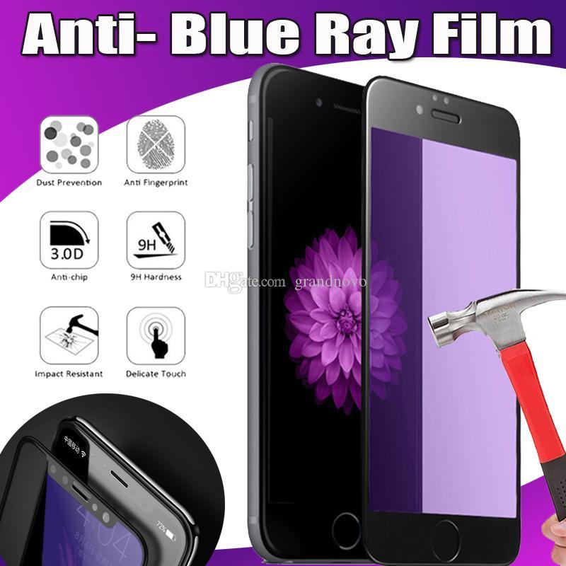 Anti mavi ışın karbon fiber temperli cam ekran koruyucu güvenlik için iphone x 7 6 huawei p20 p10 mate 10 pro xiaomi mi 8 se redmi 6a not 5
