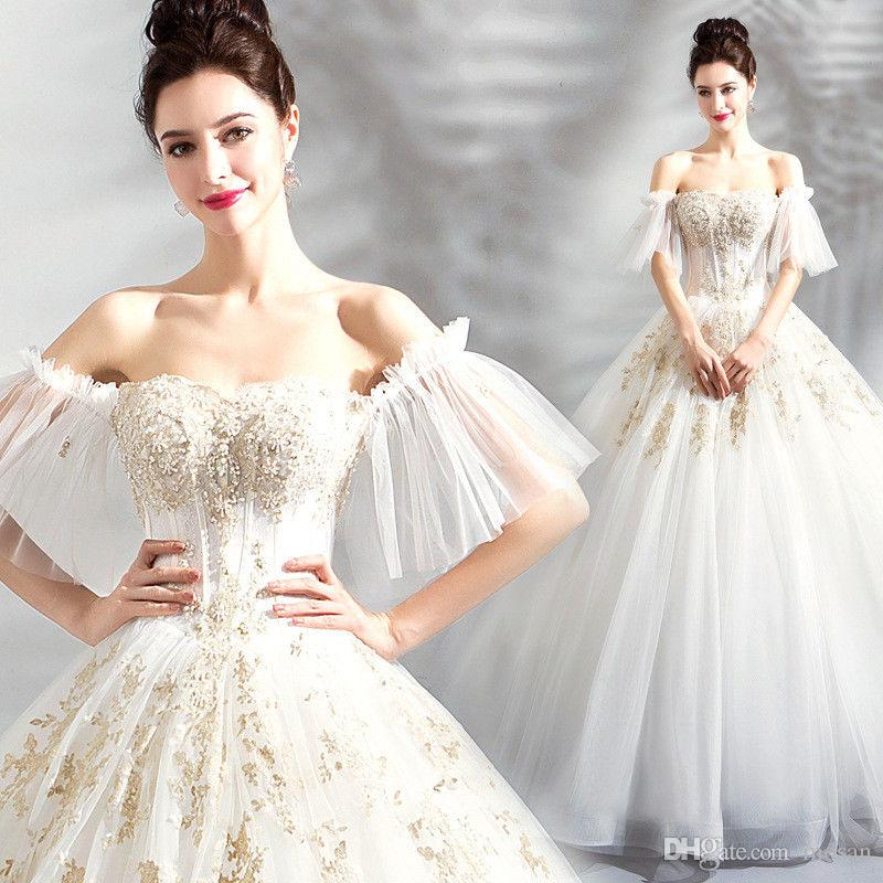 2019 Luxury Lace up Mermaid Wedding Dresses With Sleeves Modern Ball Gown Wedding Dresses Appliques Lace Arabic Vintage Bridal Dress For Mid