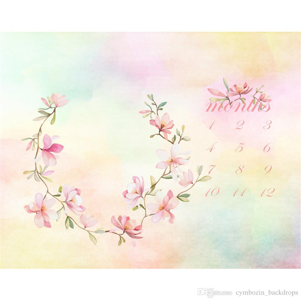 Pastel acuarela Recién nacido Calendario Fotografía Telones Fondo Impreso Rosa Floral Guirnalda Bebé Niños Cumpleaños Fotografía Photo Shoot