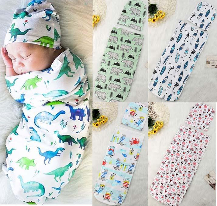 طفل كيس النوم + قبعة لطيف نمط قماط الكرتون ديناصور الزهور القرش المطبوعة طفل كيس النوم الرضع ملفوفة