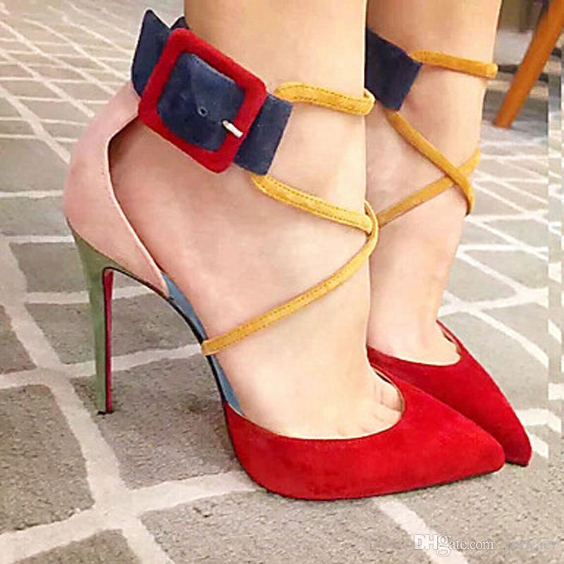 Zandina Senhoras Feitas À Mão Bombas de Salto Alto Patchwork Buckle Strap Apontou Toe Sapatos Stiletto Moda Verão Sapatos Tribunal A084