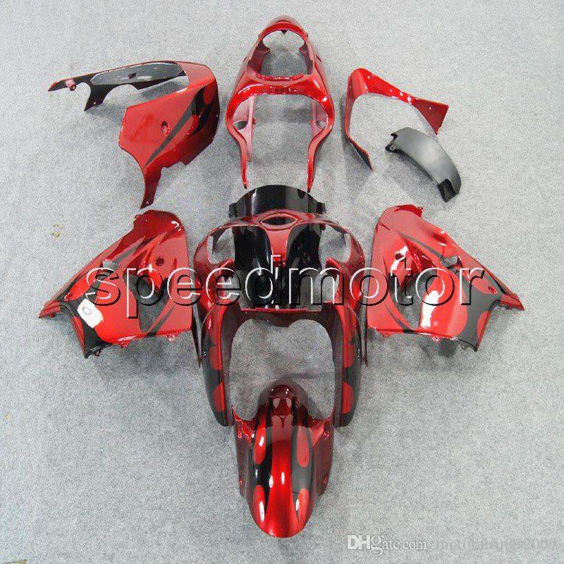 23colors+Gifts black flames bodywork motorcycle Fairing for Kawasaki ZX9R 1998-1999 ZX-9R 98 99 ABS plastic kit