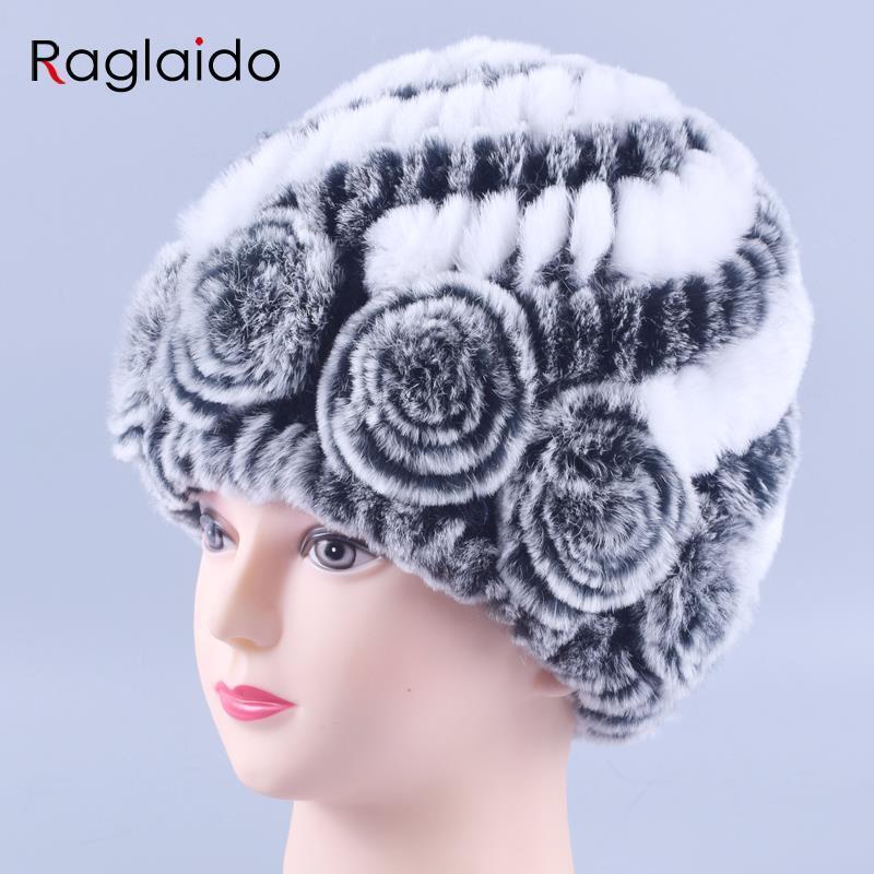 Winter fur hat Rabbit Fur Women Warm fashion Lady Beanie Hat Handmade knitted hat headwear gorro Caps girls fur cap LQ11144 D18110102