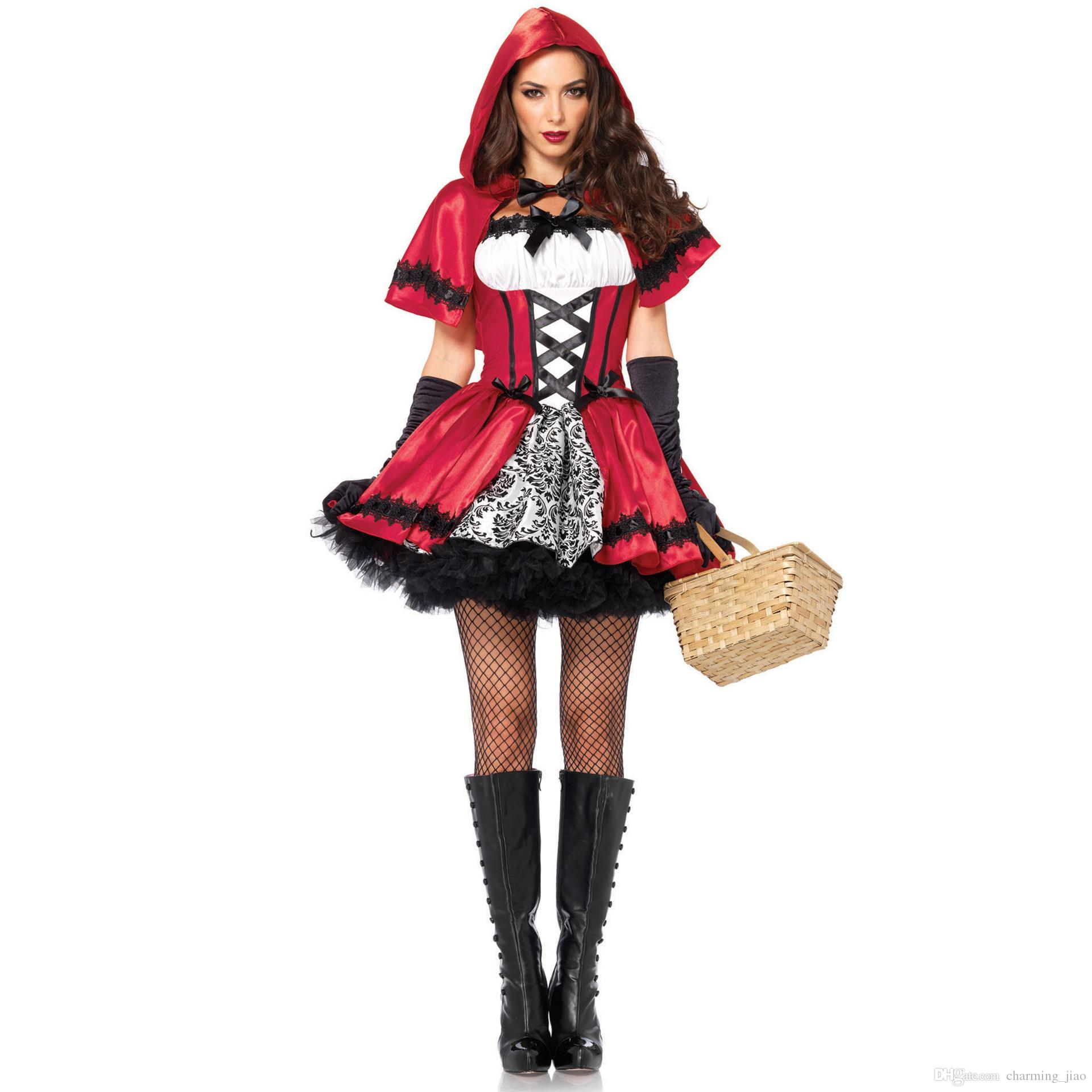 Little Red Riding Hood Costume Dress Halloween Print Red Dress Castle Queen Cosplay Female Party Costumes Sets Dress