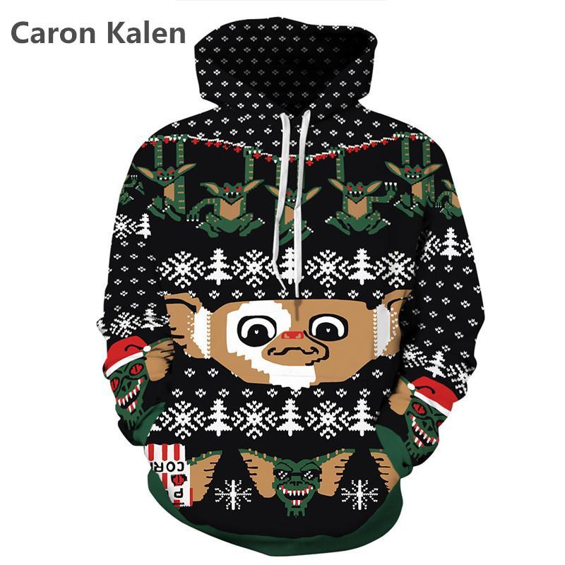 2017 YENI 3D Noel Maymun Siyah Hoodies Tam Kollu Cep Gevşek Erkekler / kadınlar Rahat Kazak Hoodies Ile Tişörtü