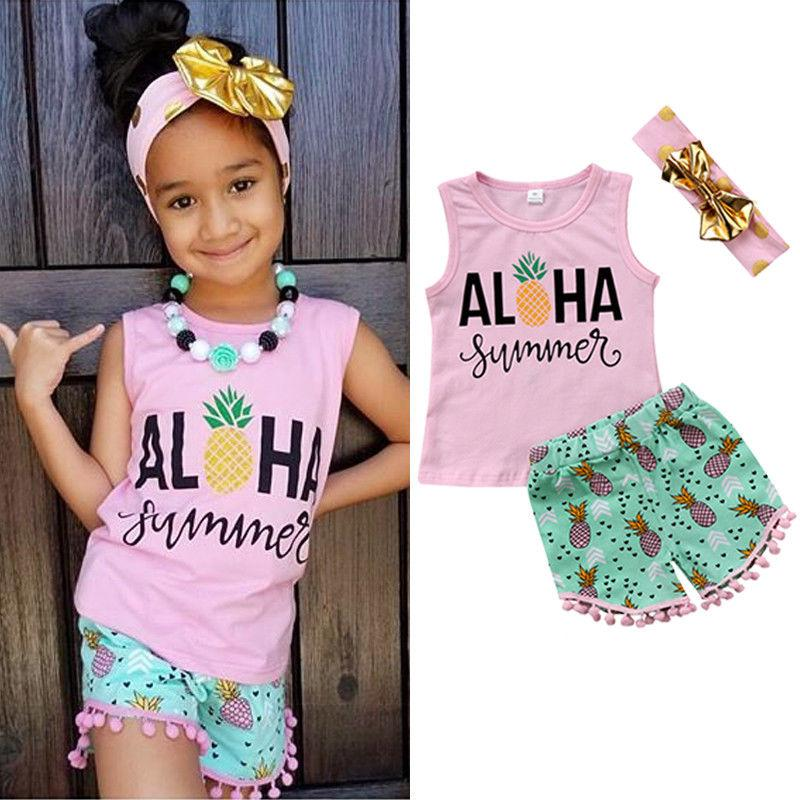 Kids Girls Summer Clothing Pineapple Outfit Vest+Shorts+headband 3-piece set Baby Tassel Clothes Girls Hawaii Beach Boutique Costume