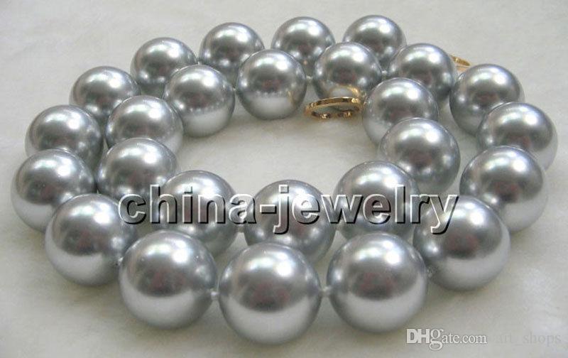 """P2246-21 """"collier de perles de coquillages de la mer du Sud, 18 mm, gris naturel"""