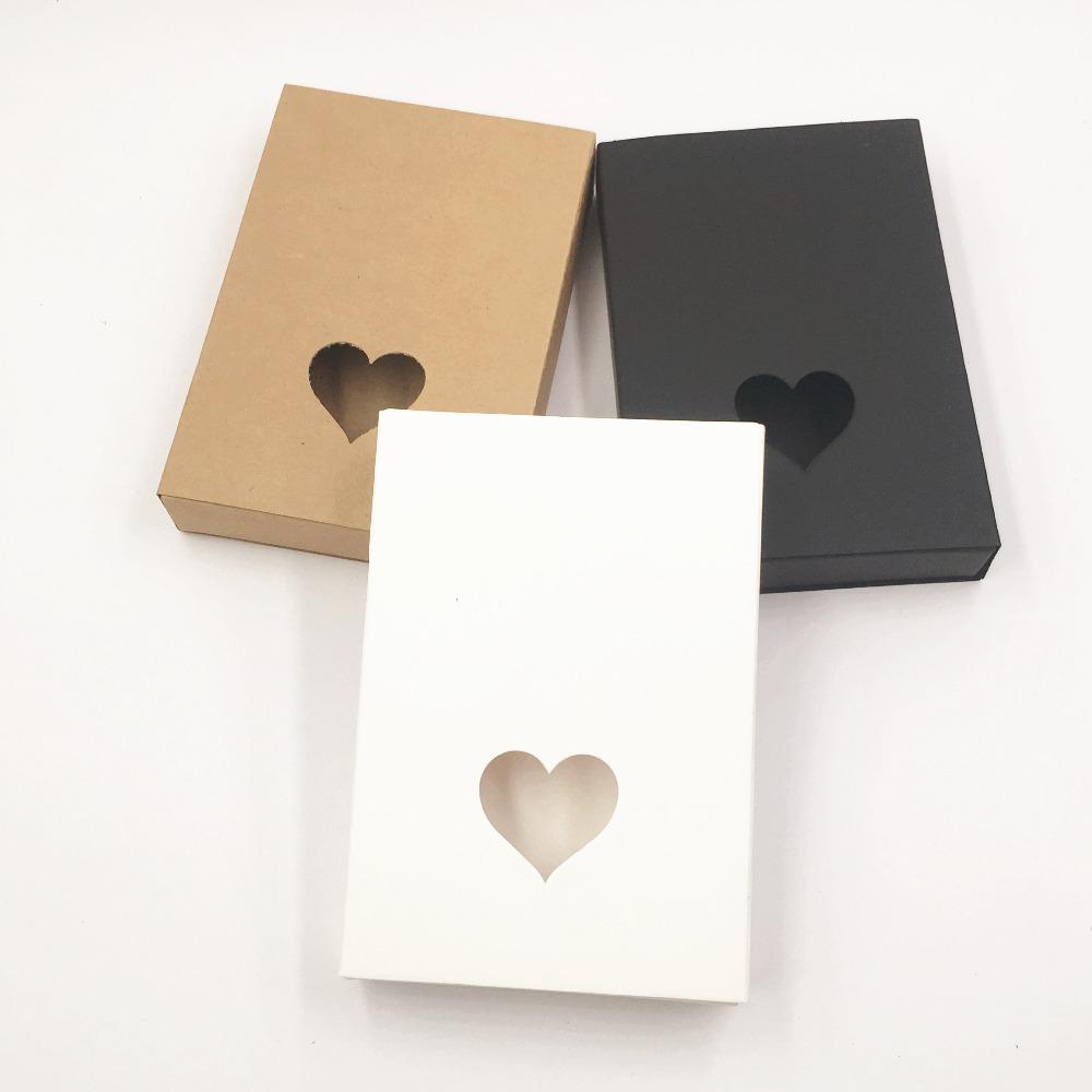 cajas de cartón kraft de papel de regalo para la boda pequeña de papel marrón en blanco y negro cajón de la caja del corazón hueco de la caja de embalaje de regalo de Navidad 24pcs / lot