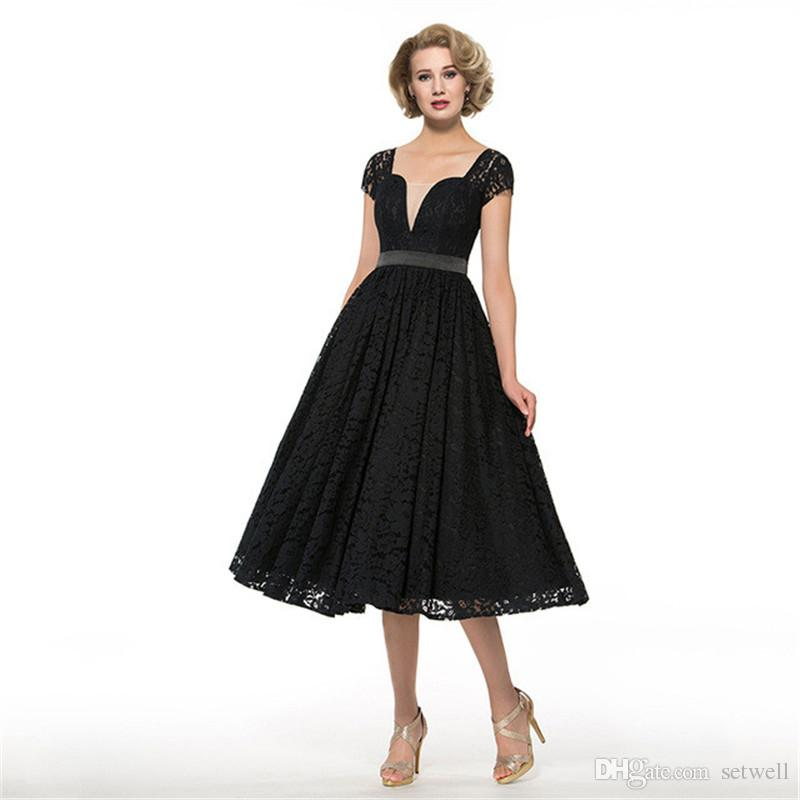 2018 setwell Black Mother Of The Bride Dress Square Neck Cap Sleeves A Line Tea Length Lace Custom Elegant Wedding Party Mother Dress