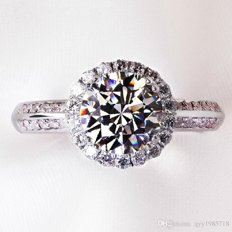 Vente 2 CT Brillant Diamant Synthétique Anneaux De Mariage pour Femmes Excellente Bague de Fiançailles Femme 925 Sterling Bijoux En Argent Cadeau