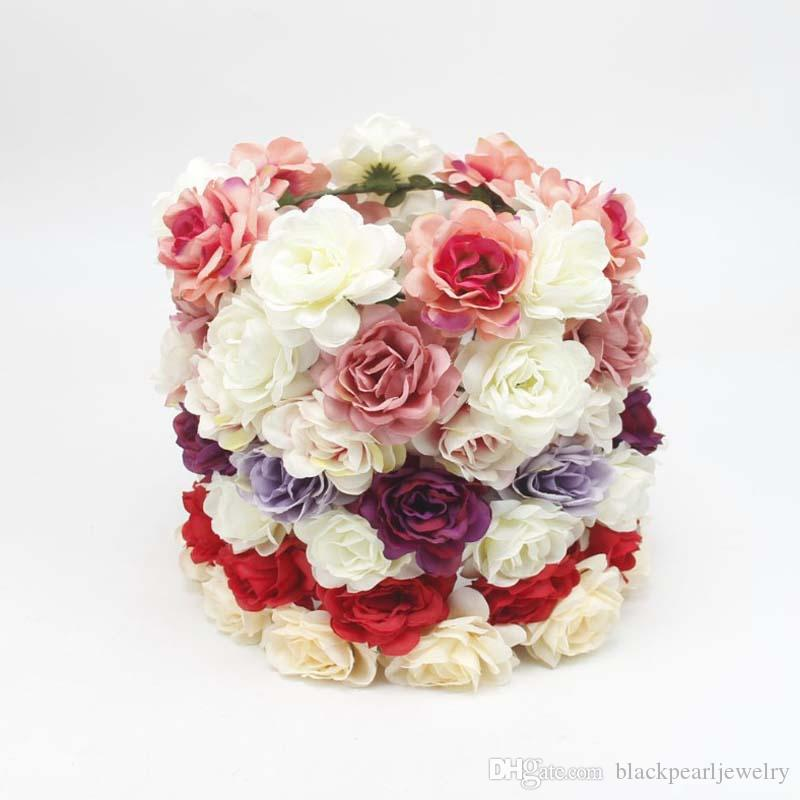 Fashion hair accessories simulation Flowers Headbands 7 Designs DIY Handmade Bride girls nylon headbands Wedding Bride Beach headwear