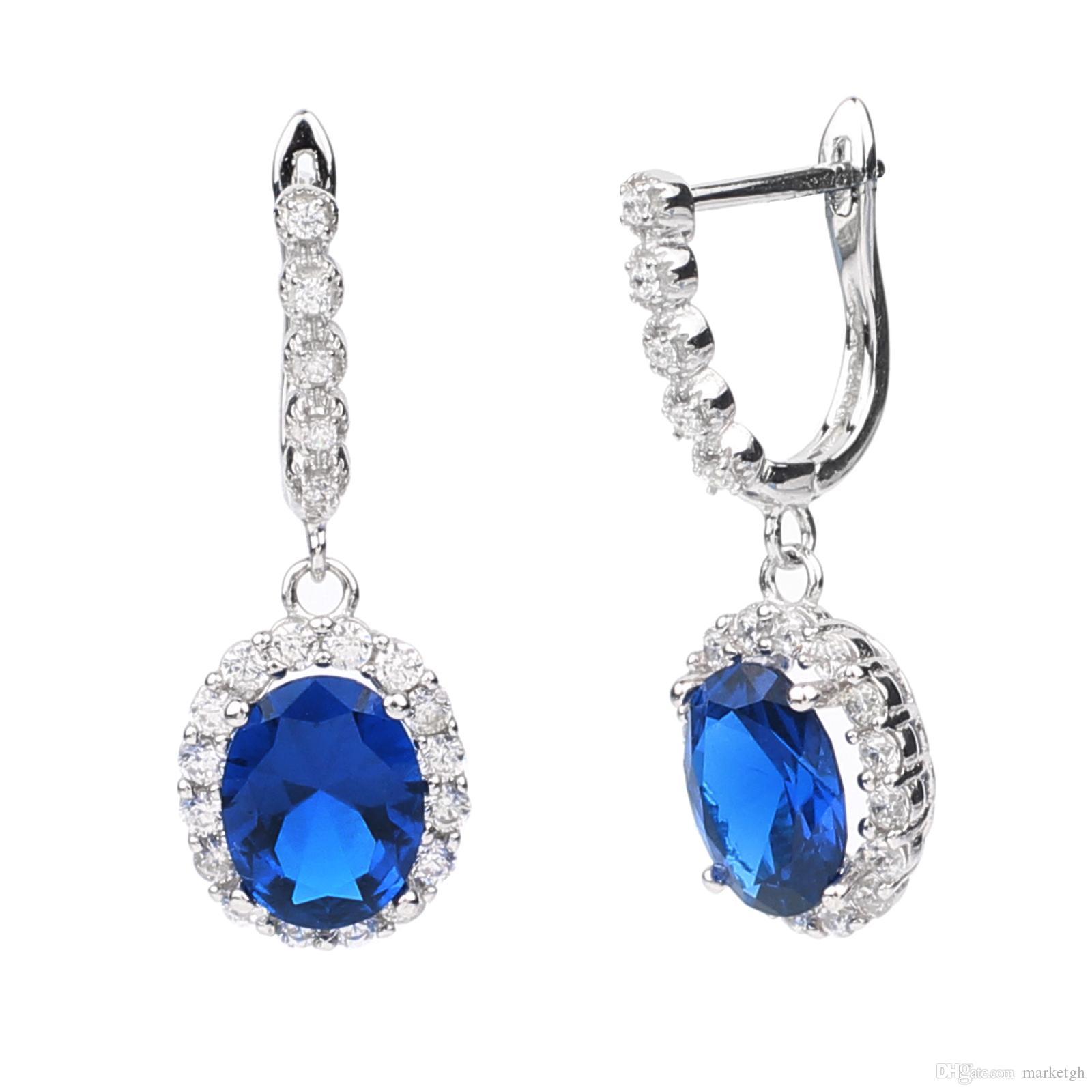 Donne 925 orecchini pendenti in argento sterlina timbro 7x9mm ovale cubic zirconia gioielli huggie parte accessorio accessorio partito usura E043