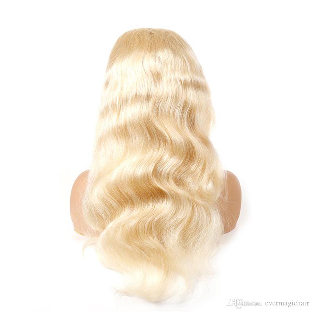Кружева передние парики человеческих волос бразильский светлый светлый светлый светлый человеческий цвет волос 613# body wave толстый бесклеевой парик кружева с волосами младенца