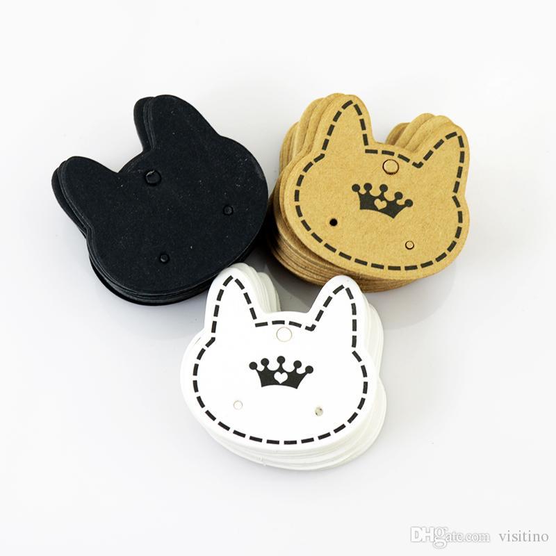 الجملة بطاقات 200pcs الأزياء والمجوهرات عرض التعبئة، لطيف القط شكل ورقة ورقة يصلح للقرط