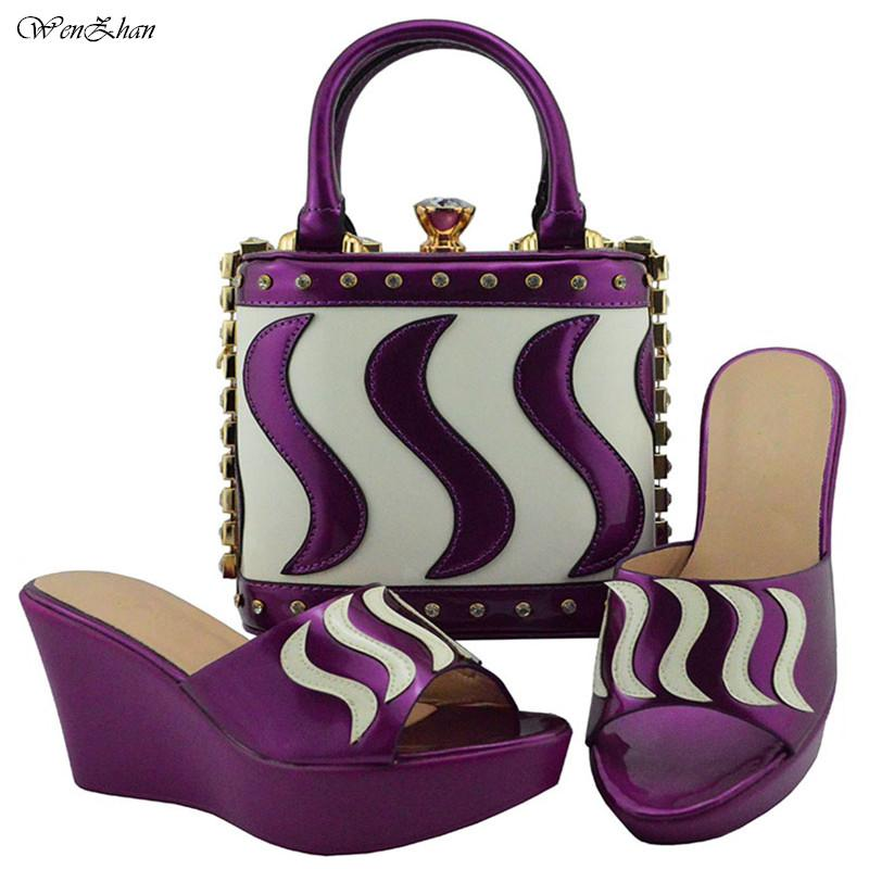 Le più recenti scarpe italiane con borsa coordinata set viola con scarpe da donna bianche africane e set di borse da donna Sandali 38-42 B810-23