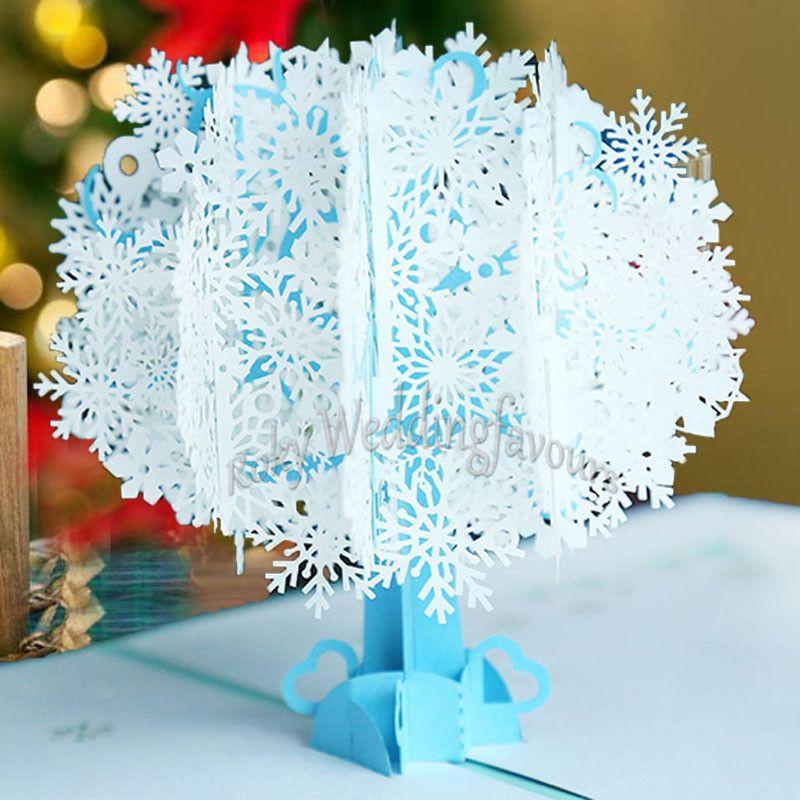 50 UNIDS 3D Pop Up Tarjeta de Felicitación de Copo de nieve de Navidad Tarjeta de Cumpleaños Tarjeta de Invitación Fiesta de Boda de Año Nuevo de Aniversario de Navidad