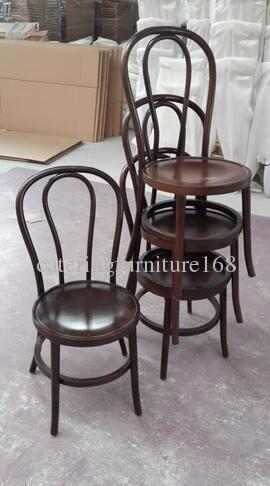 sillas de comedor vintage apilables de madera curvada para eventos