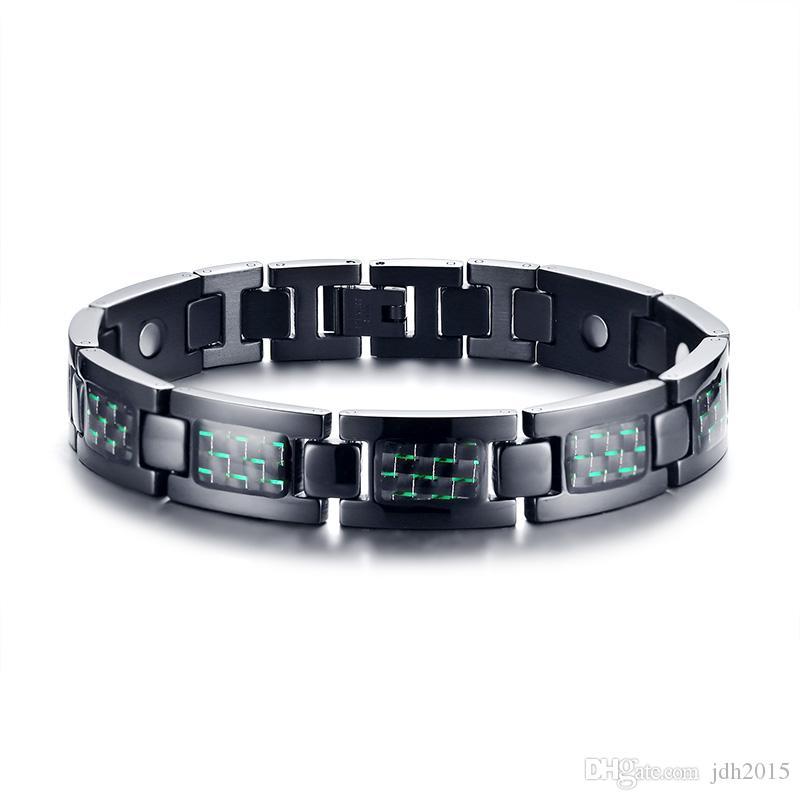 """Green Carbon Fiber Inlaid Stainless Steel Magnetic Link Bracelet 9"""" Length Adjustble"""
