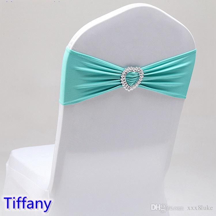 Тиффани цвет свадебный стул створки с пряжкой сердца лайкра группа спандекс створки галстук-бабочку для свадебного банкета украшения для продажи