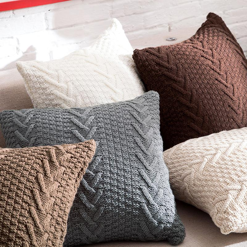 Fantastic Decorative Knitted Cushion Covers 45Cm X 45Cm Indoor Square Pillow Cases Imitation Cashmere Couch Pillow Covers Bh18020 Patio Throw Pillows Patio Theyellowbook Wood Chair Design Ideas Theyellowbookinfo