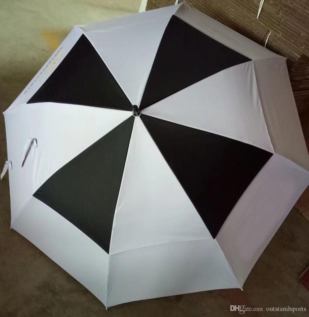 OEM golfschirm 2 schicht weiß / schwarz anti-UVA automatische golfschirm MOQ 100 stücke akzeptiert