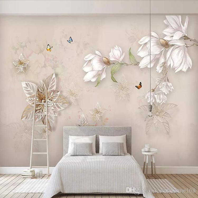 3d Chinese film and television background wall paper simple modern 5D living room wall paper mural landscape flowers and birds