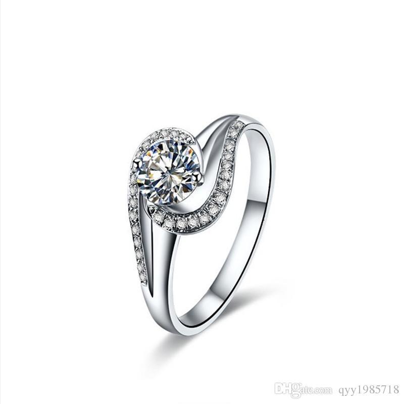 2018 Neueste 0,5 CT Synthetische Diamant Eheringe Für Frauen 925 Sterling Silber Ring Platin Überzogene Verlobungsring Schmuck
