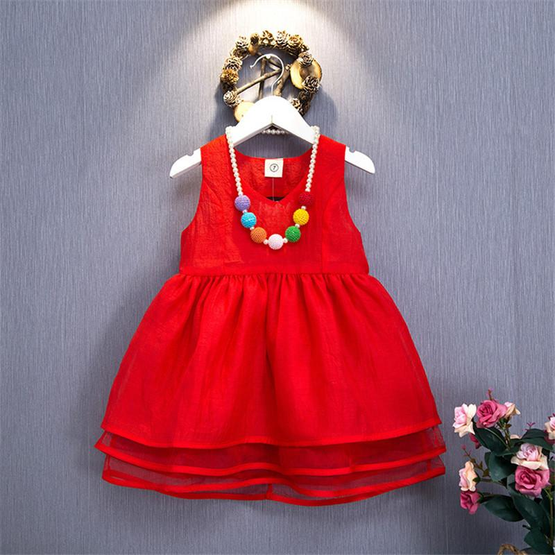 2018 Summer New Fashion Baby Girls Lovely Red Dress Kids Princess Party Wedding Dress Tutu Dress Baby Girls Gown Skirts