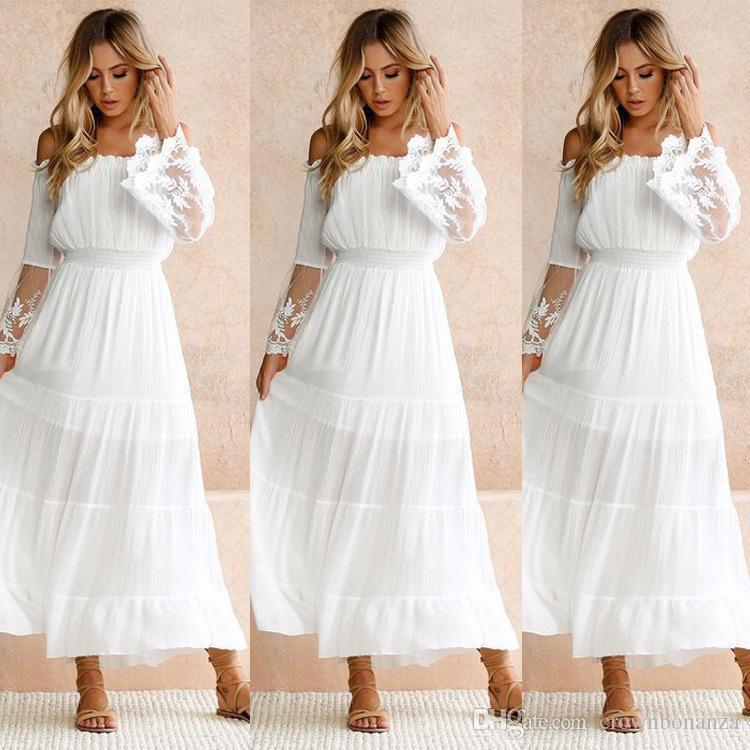 Summer White Lace Dress Sundress Long Women Beach Dress Woman Strapless Long Sleeve Loose Sexy Off Shoulder Lace Boho Maxi Dress White Prom Dress Girl