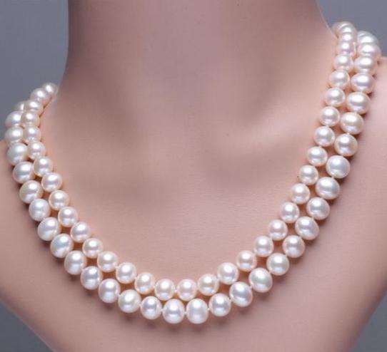 Chaming 8-9 мм Натуральное Южное Море Белый Жемчуг Ожерелье 18-19 дюймов 925 Серебряная Застежка