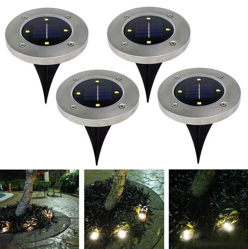 4LED تعمل بالطاقة الشمسية أضواء القرص دفن ضوء في الهواء الطلق تحت الأرض مصباح درج أضواء الفوانيس OOA4792
