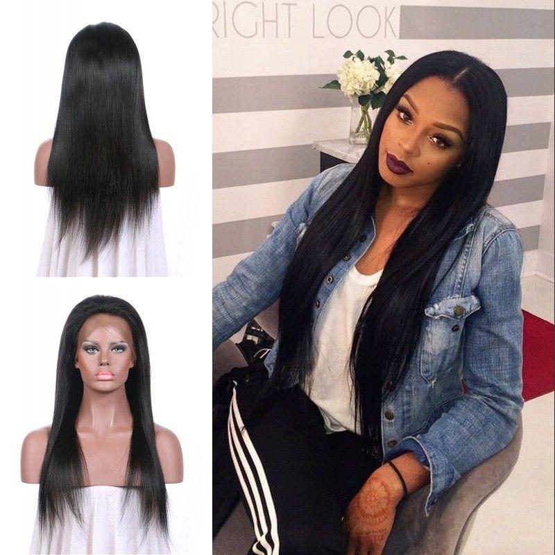 Красивые парики фронта шнурка плотности стиля 130% прямые 10-30инч естественные черные человеческие волосы 100% девственные не линяя г-легкий