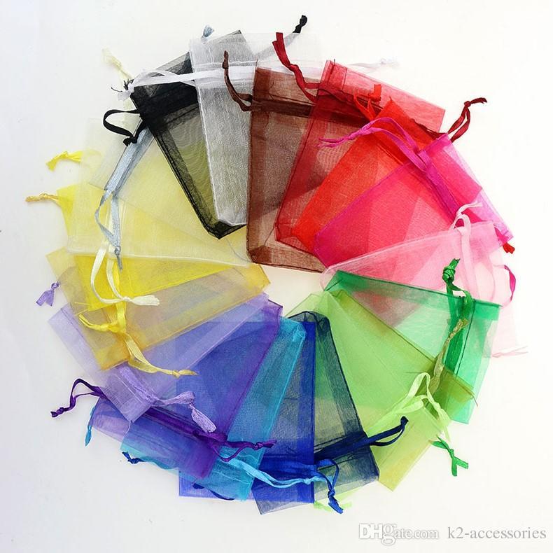 100 шт. / Лот Mix Colors 13x18CM Органзы Сплошные цвета Ювелирные Изделия Сумки для Свадебных Управляющих Бенстринг Подарочная сумка Botwk Botwk