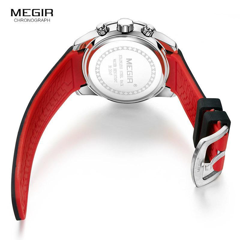 819ceadbe19 Compre Megir Analógico Chronograph Battery Quartz Watch Para Homem Dos Homens  De Silicone Preto Bracelete Esporte Relógio De Pulso Do Menino Cronômetro  ...